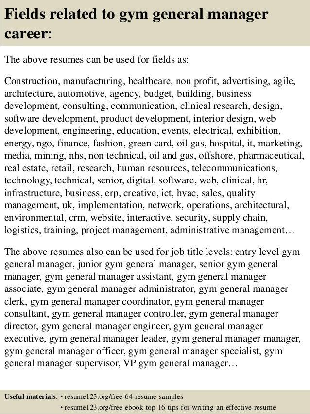 top 8 gym general manager resume samples