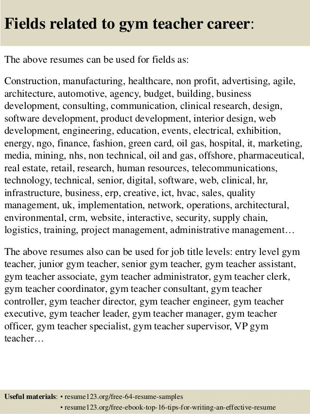 16 fields related to gym teacher career the above resumes. Resume Example. Resume CV Cover Letter