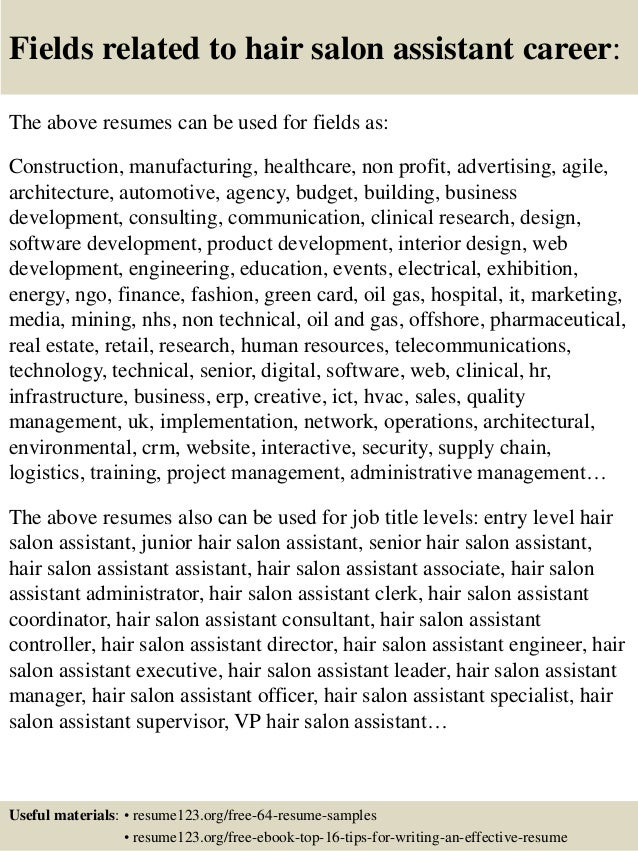 16 Fields Related To Hair Salon Assistant