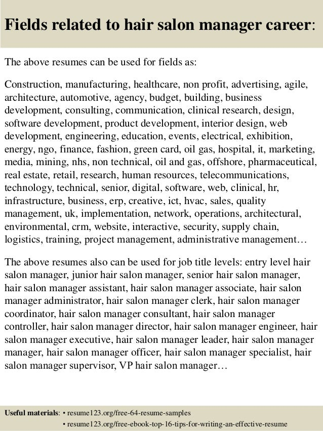 hair stylist assistant resumes