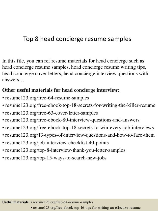 Top 8 Head Concierge Resume Samples In This File You Can Ref Materials For