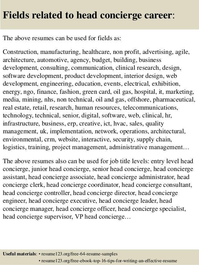 top 8 concierge resume sles