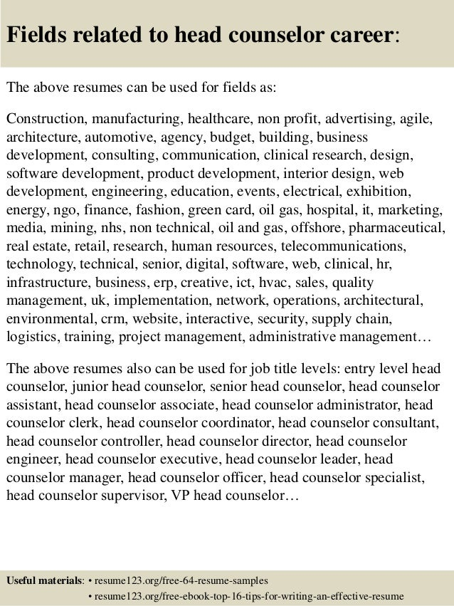 top 8 head counselor resume samples