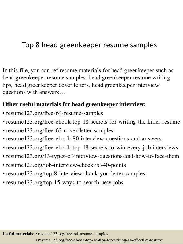 Golf Course Resume Examples Greenkeeper Cv
