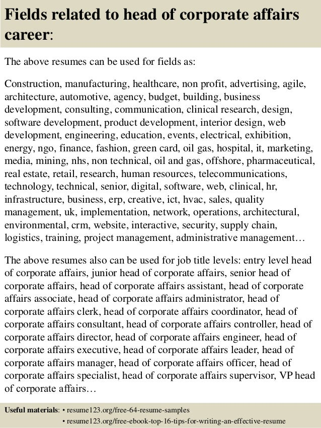 Top  Head Of Corporate Affairs Resume Samples