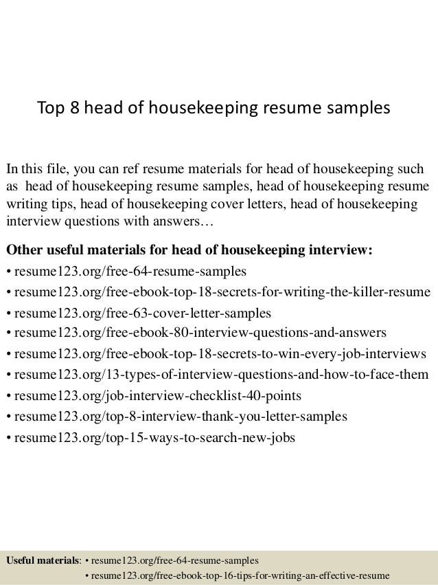 top 8 head of housekeeping resume samples in this file you can ref resume materials - Housekeeping Resume Samples