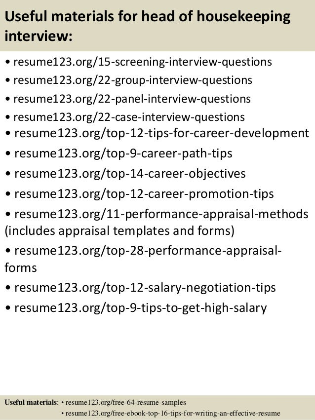 15 resume examples for housekeeping