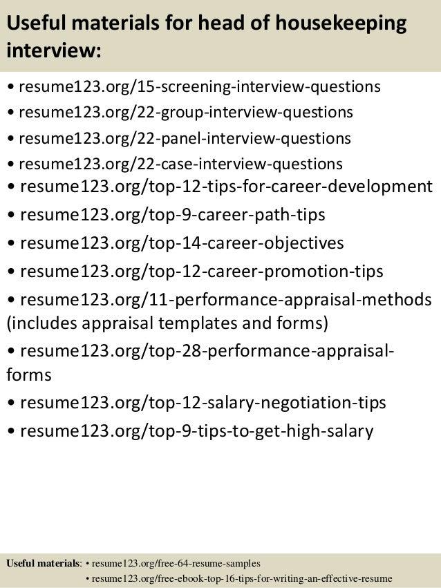 Top 8 Head Of Housekeeping Resume Samples