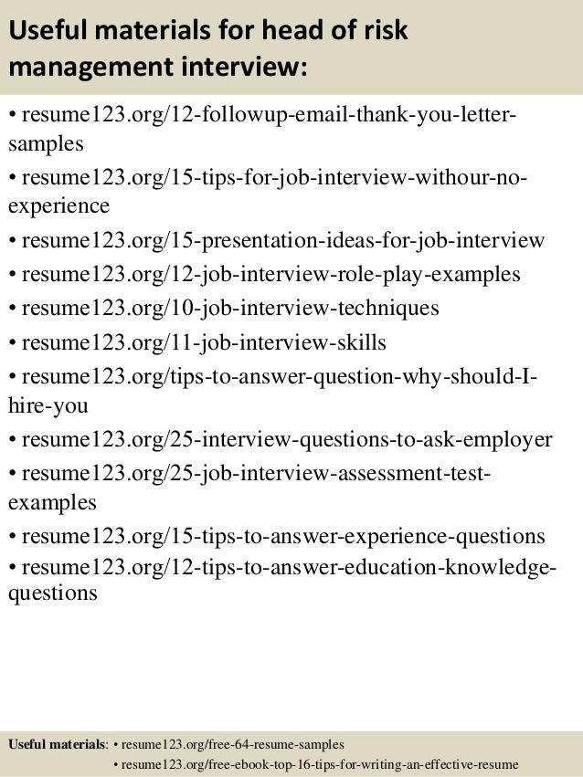 14 useful materials for head of risk management - Risk Management Resume