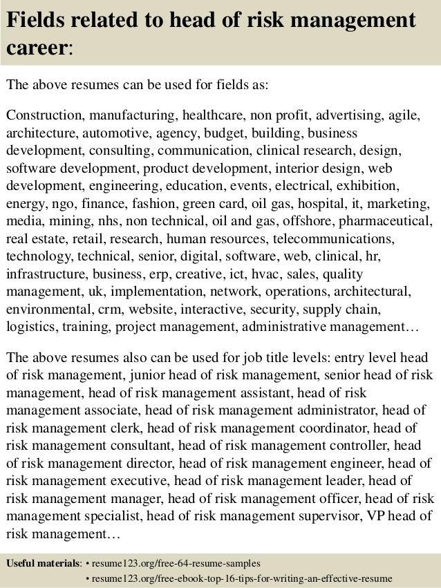 operational risk management resume - Risk Management Resume