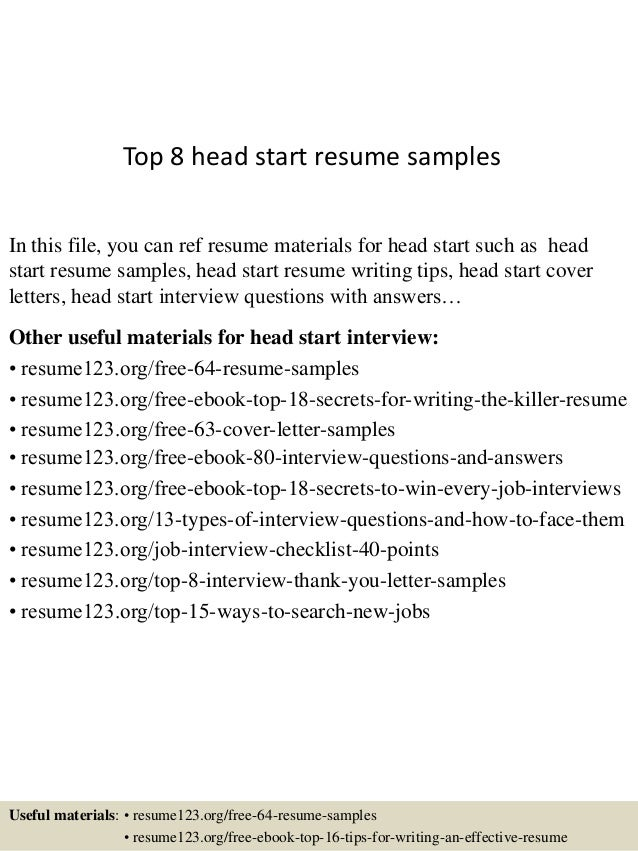 top 8 head start resume samples