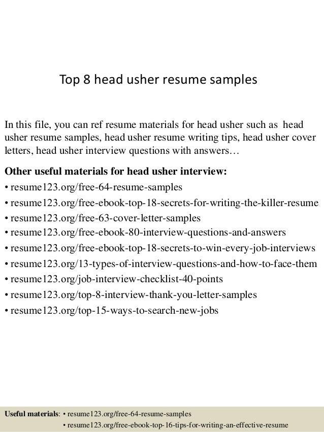 Top 8 Head Usher Resume Samples