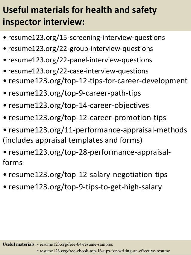 top 8 health and safety inspector resume samples