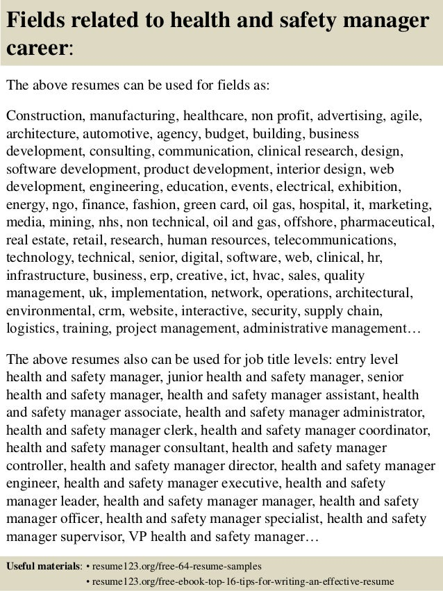 16 fields related to health and safety manager