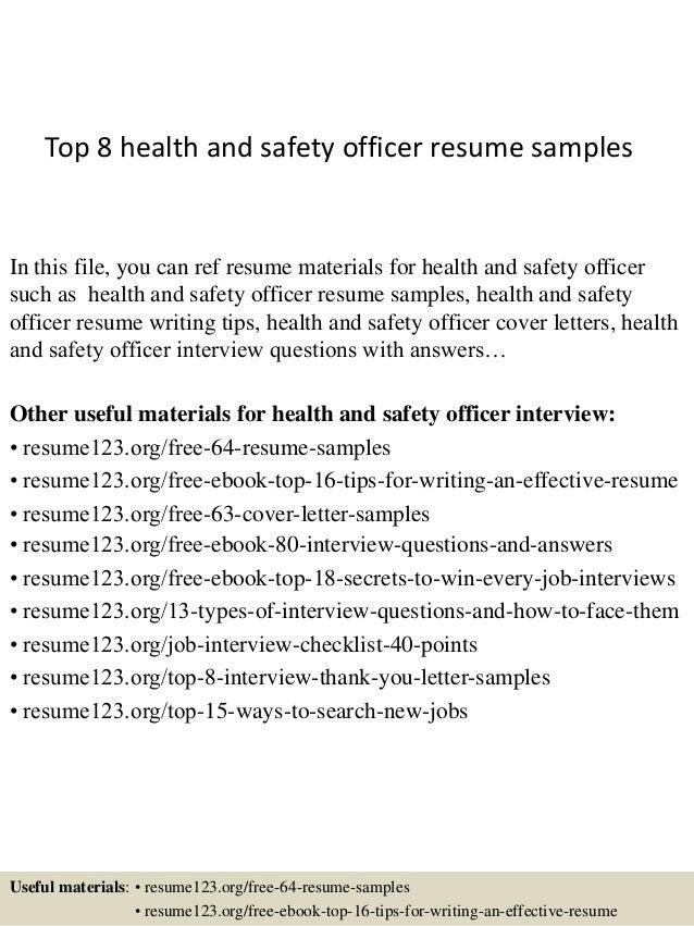 safety officer resume samples