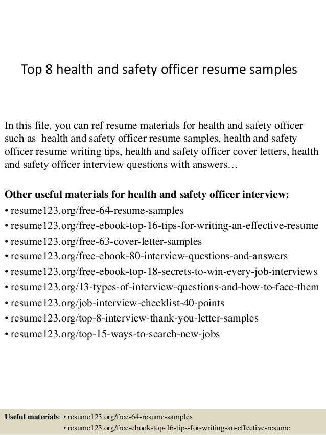 Top 8 Health And Safety Officer Resume Samples In This File, You Can Ref  Resume ...