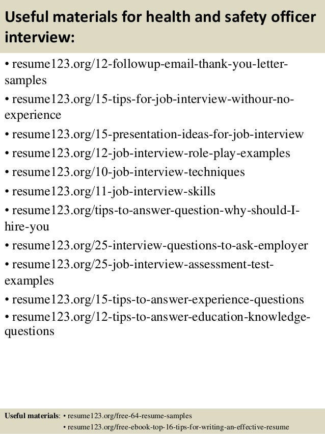 useful materials for health and safety officer interview resume123 org