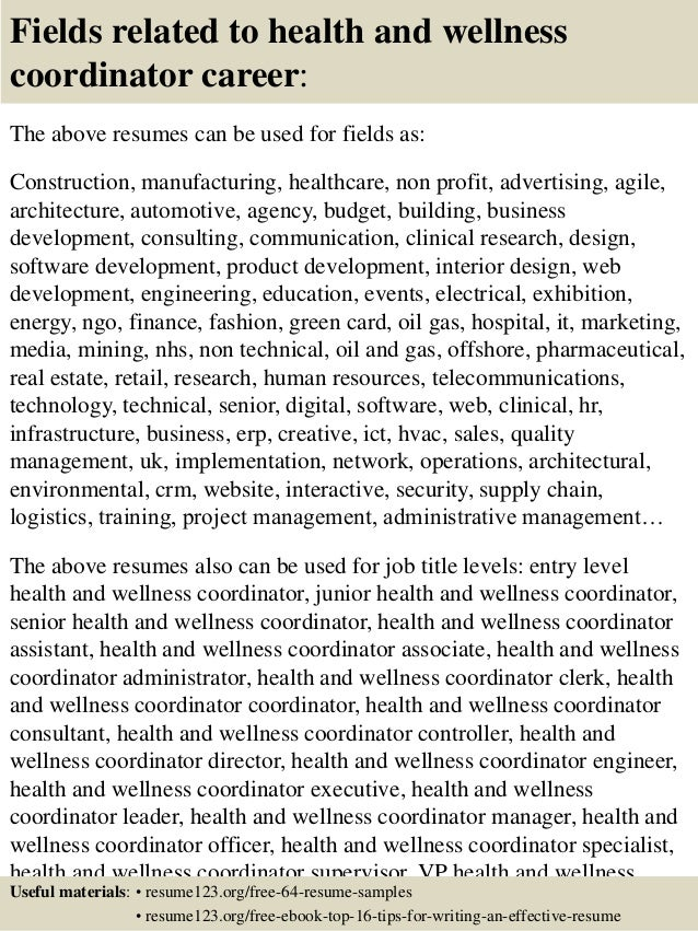 Attractive ... 16. Fields Related To Health And Wellness Coordinator Career: The Above  Resumes ...