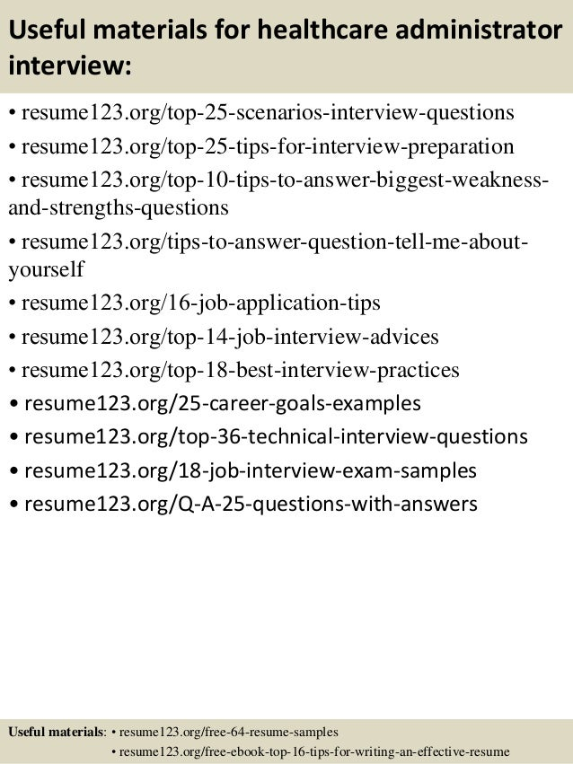 ... 13. Useful Materials For Healthcare Administrator ...  Health Administration Resume