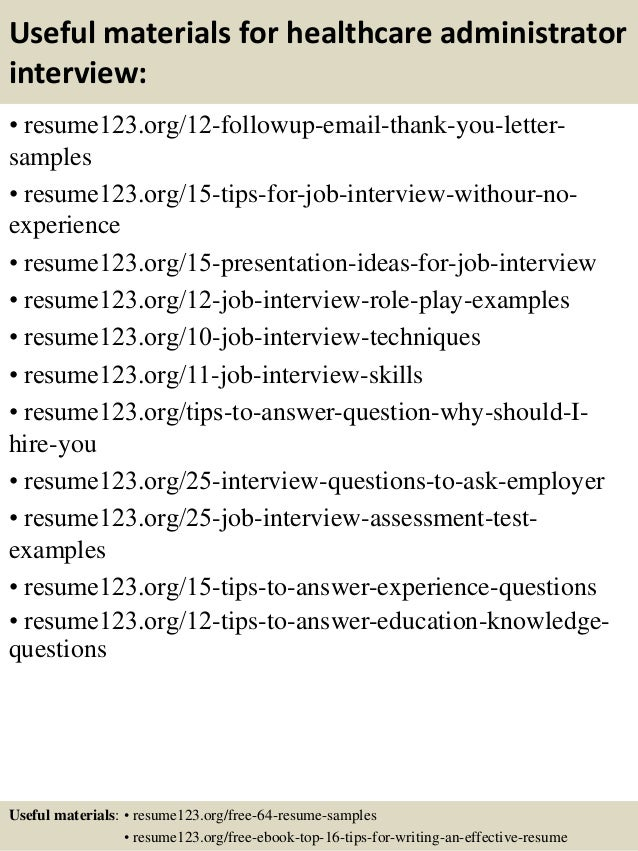 14 useful materials for healthcare administrator - Hospital Administration Sample Resume