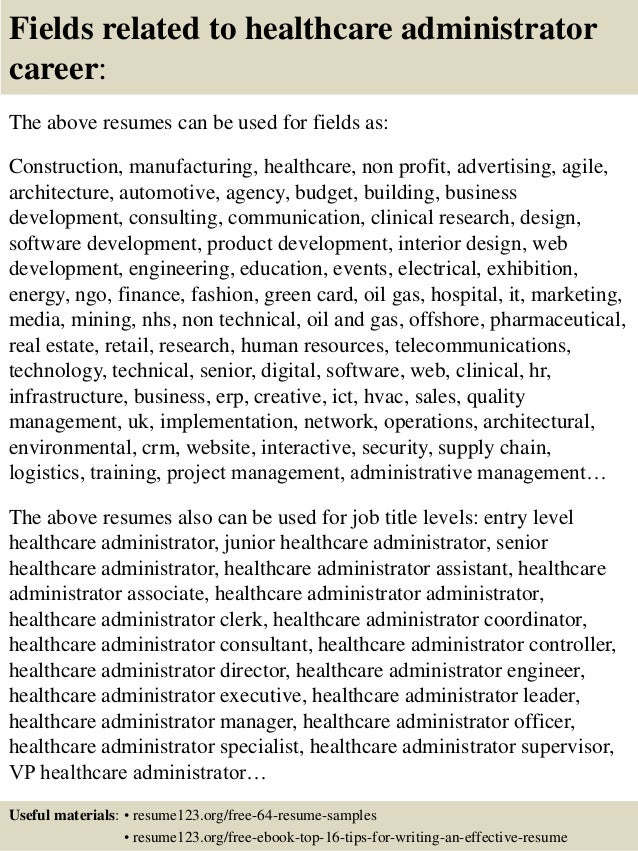 Resume For Healthcare Administration Under Fontanacountryinn Com