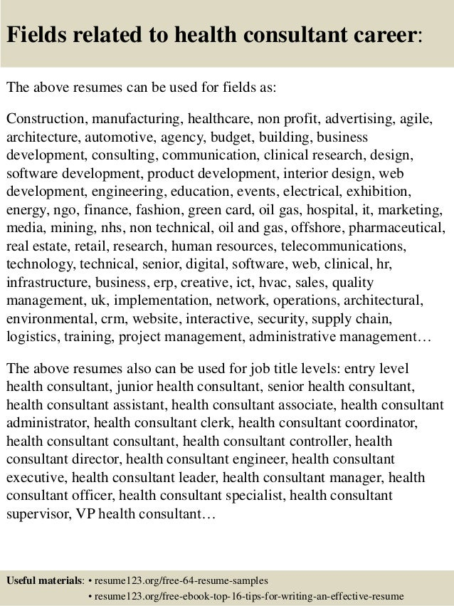 Top 8 health consultant resume samples 16 fields related to health yelopaper Choice Image