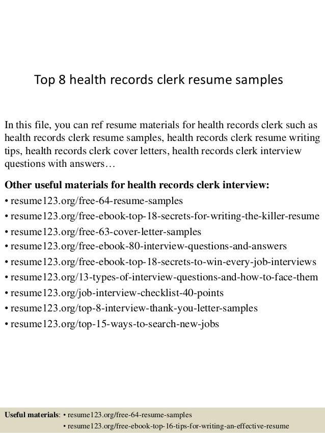 Top 8 health records clerk resume samples