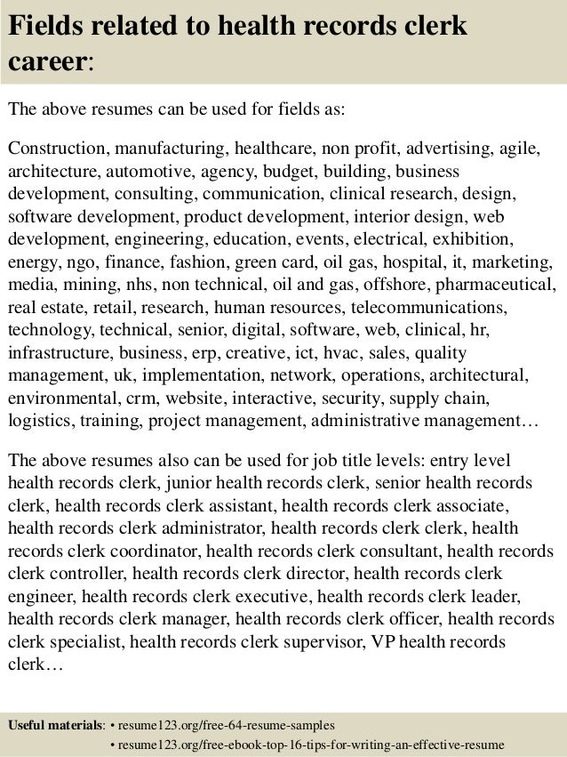 16 fields related to health records clerk medical records clerk resume - Medical Records Clerk Resume