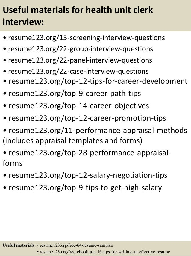 ... 15. Useful Materials For Health Unit Clerk ...  Unit Clerk Resume