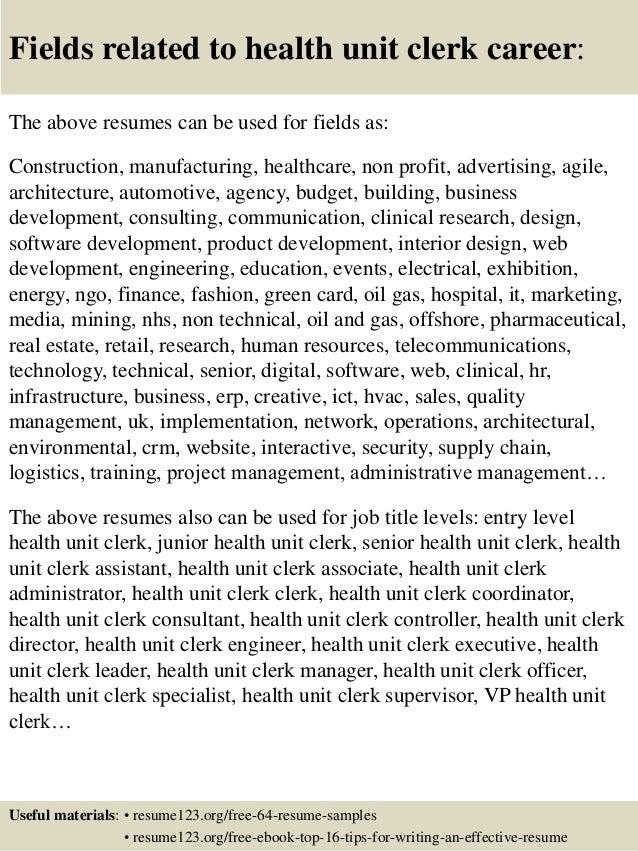 top 8 health unit clerk resume samples