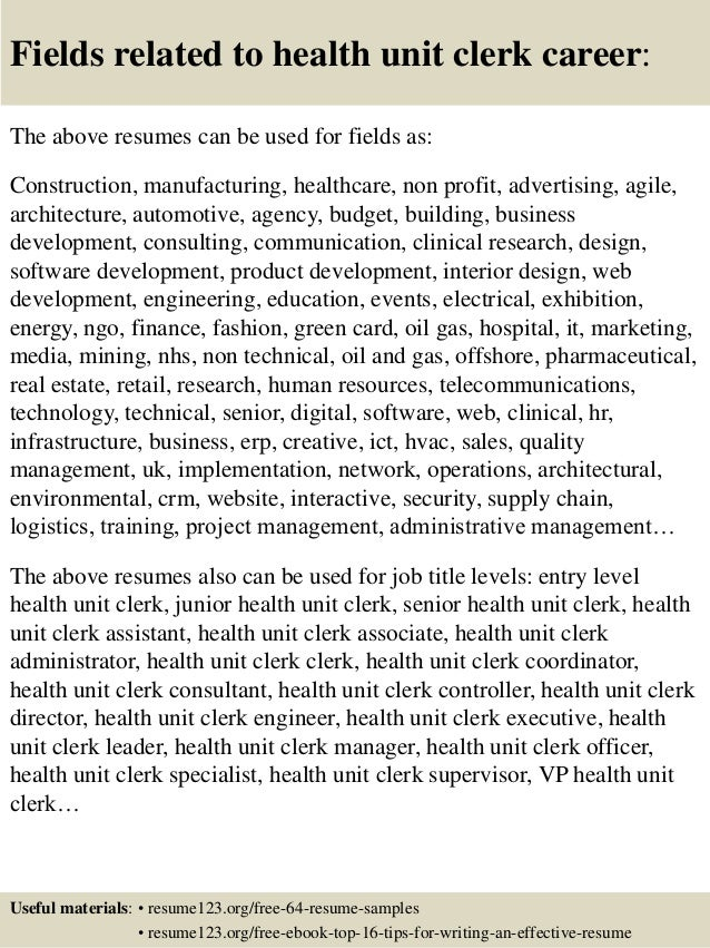... 16. Fields Related To Health Unit Clerk ...  Unit Secretary Resume