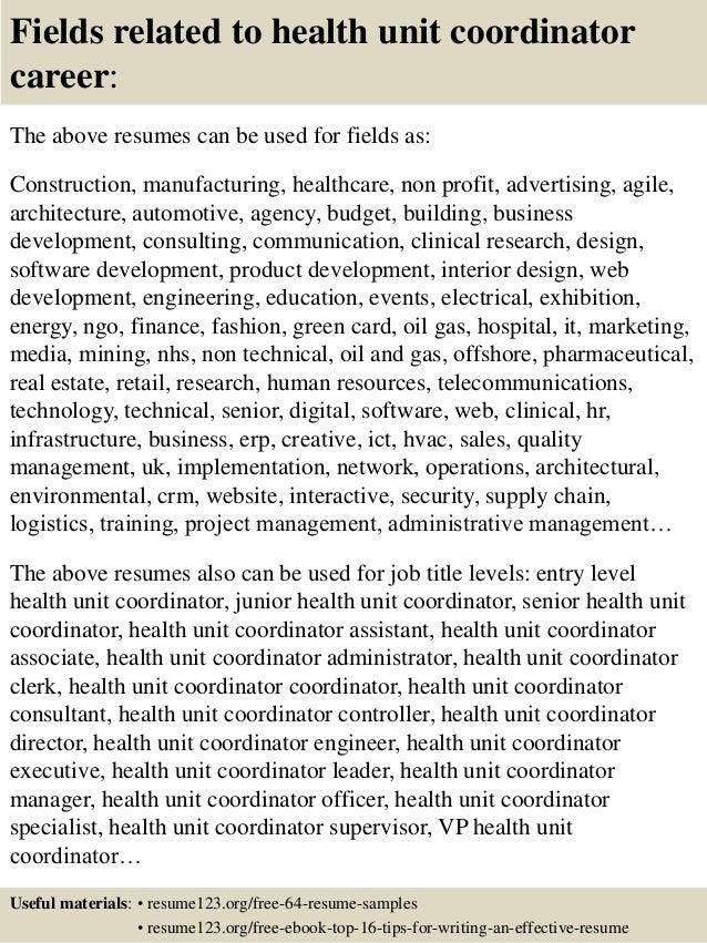 Top 8 health unit coordinator resume samples