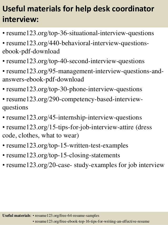 Help Desk Coordinator Resume Proposal Coordinator Resume Resume ...
