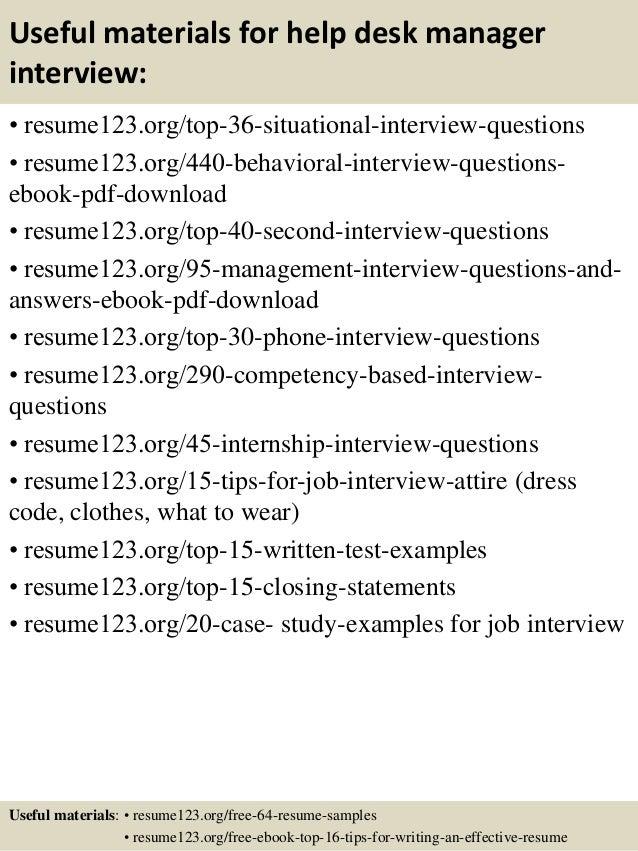 ... 12. Useful Materials For Help Desk Manager ...  Help Desk Manager Resume