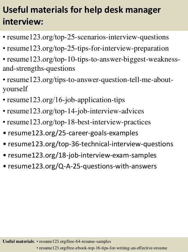 ... 13. Useful Materials For Help Desk Manager ...  Help Desk Manager Resume