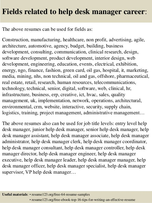 ... 16. Fields Related To Help Desk Manager ... Throughout Help Desk Manager Resume