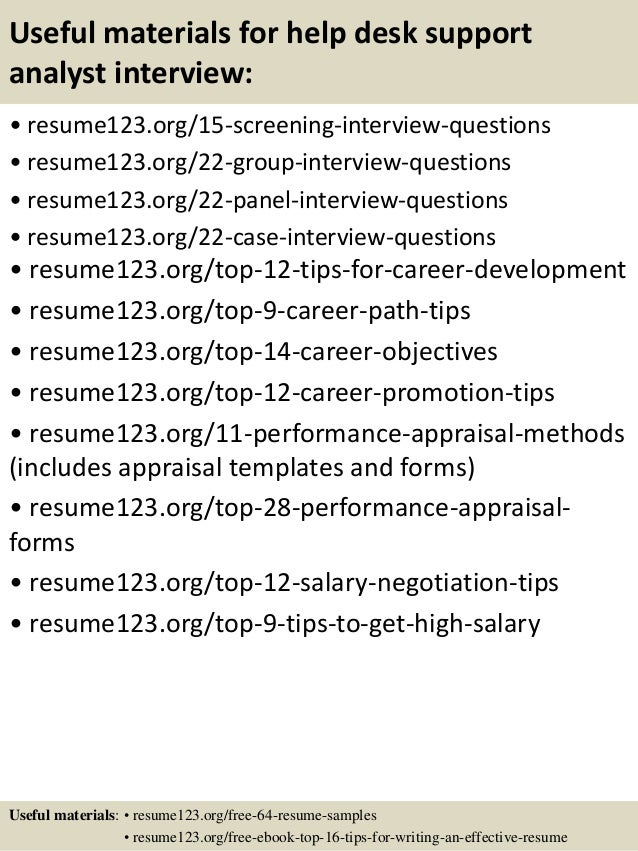 Top 8 Help Desk Support Analyst Resume Samples