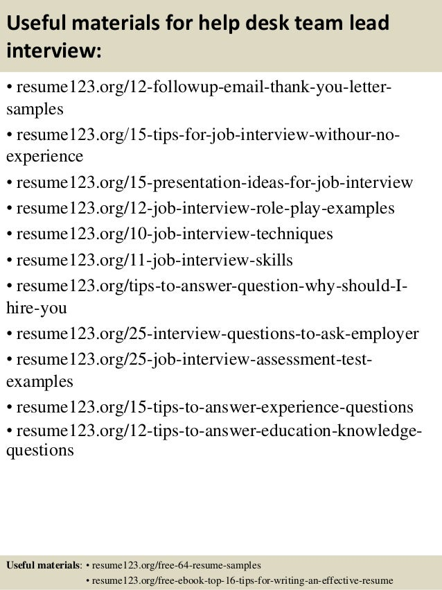 ... 14. Useful Materials For Help Desk Team Lead ...