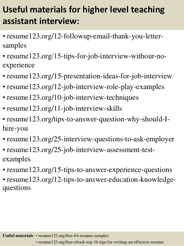 14 useful materials for higher level teaching assistant teacher assistant resume - Sample Teacher Assistant Resume