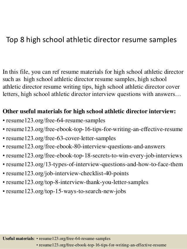 top 8 high school athletic director resume samples in this file you can ref resume - Sample High School Athletic Director Resume
