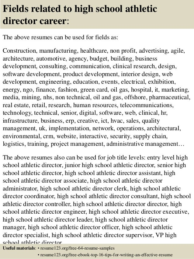 16 fields related to high school athletic director - Sample High School Athletic Director Resume