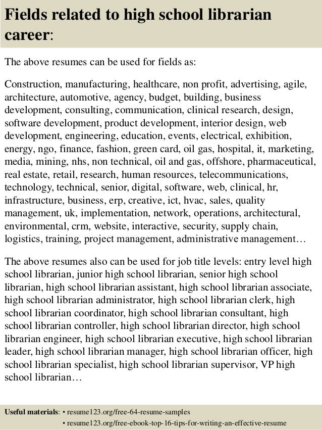 sample school librarian resume