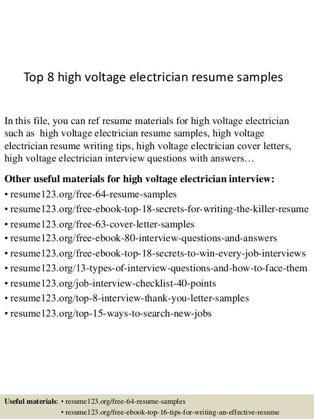top 8 high voltage electrician resume samples in this file you can ref resume materials - Sample Electrician Resume