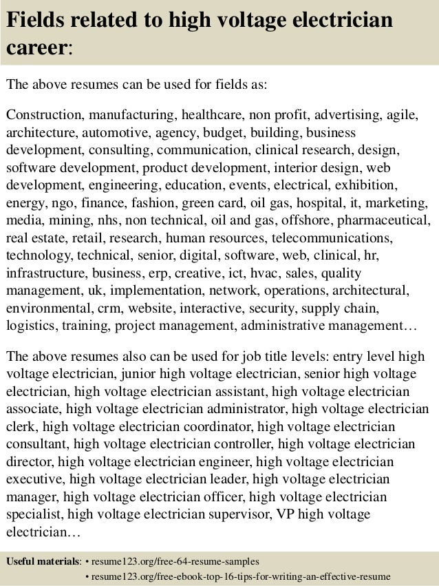 Top 8 high voltage electrician resume samples