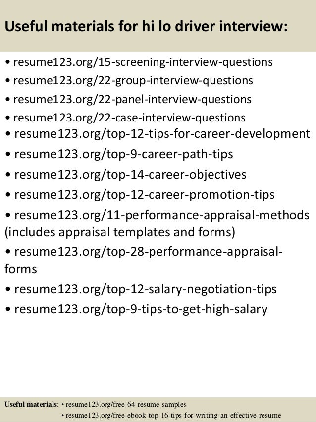 Top 8 hi lo driver resume samples