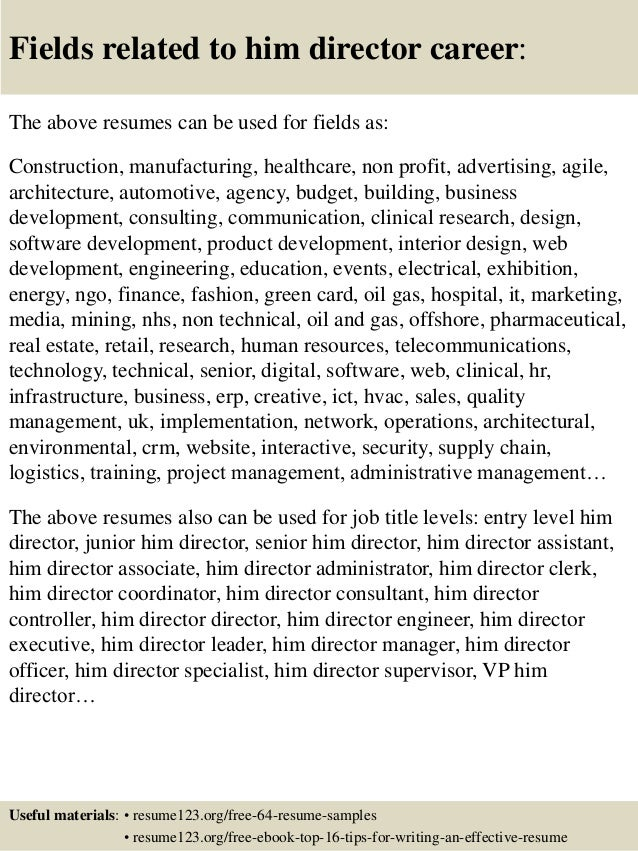 Top 8 him director resume samples