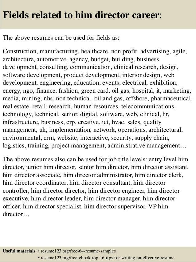Top 8 him director resume samples