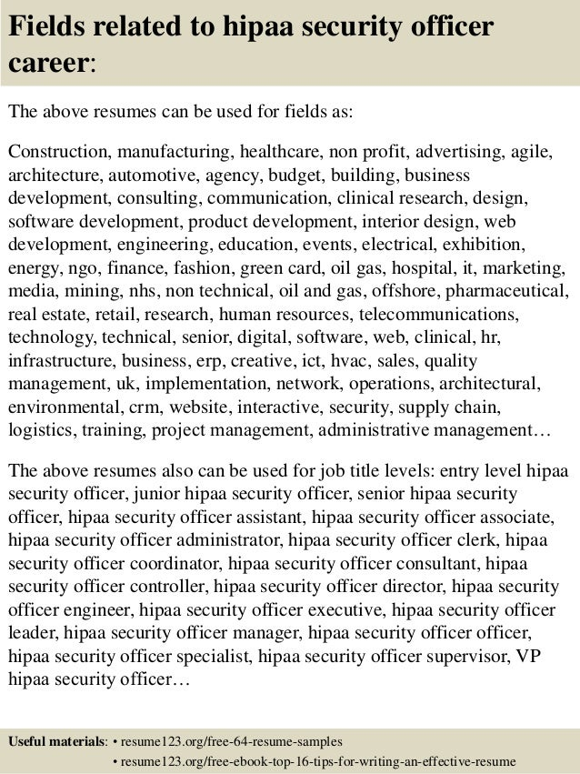16 fields related to hipaa security officer - Hipaa Security Officer Sample Resume