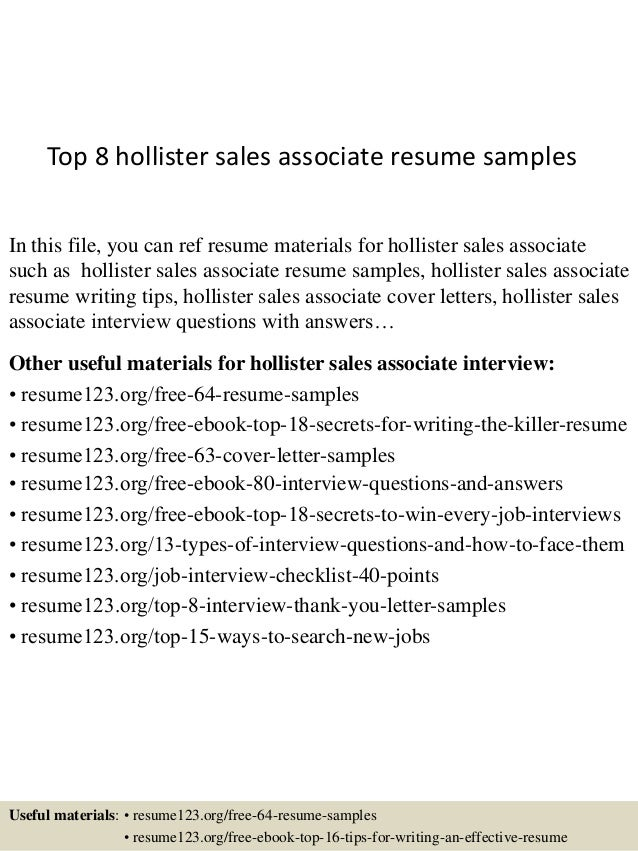 top 8 hollister sales associate resume samples in this file you can ref resume materials - Resume Examples For Sales Associate