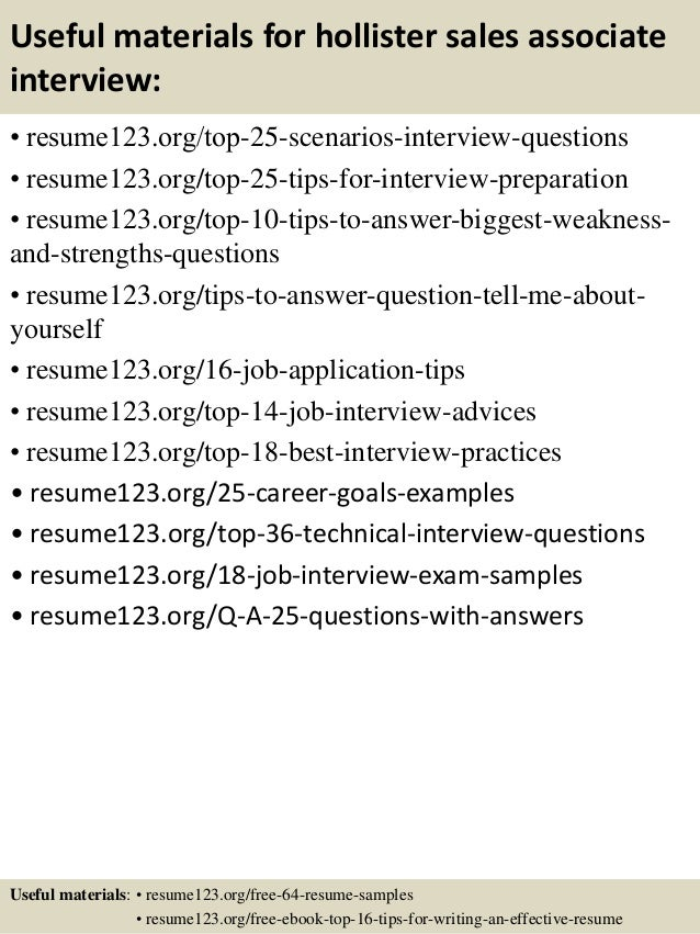 top 8 hollister sales associate resume samples